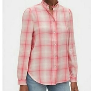 🆕️ Gap pink plaid ruffle-neck shirt NWT